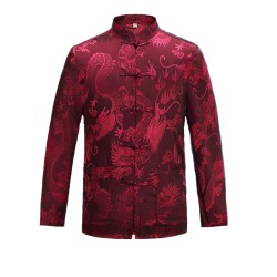 Tang Suit Men Traditional Chinese Clothing Suits Hanfu Cotton Long Sleeved Shirt Coat Mens Tops
