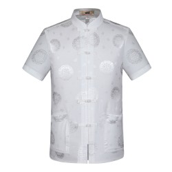 Tang Suit Men Traditional Chinese Clothing Suits Hanfu Cotton Short Sleeve Shirt Coat Mens Tops