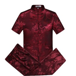 Tang Suit Men Traditional Chinese Clothing Suits Hanfu Cotton Short sleeve shirt coat Mens Tops and pants