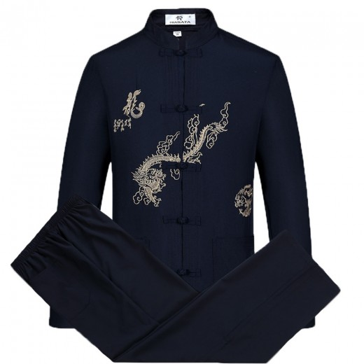 Tang Suit Men Traditional Chinese Clothing Suits Hanfu Cotton Long Sleeved Shirt Coat Mens Tops and Pants